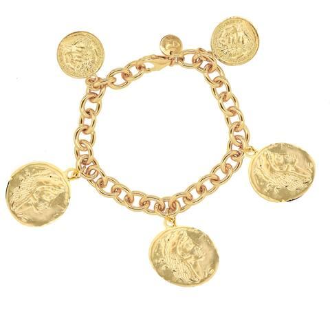 "Bronzoro 18 kt Gold Plated Women's 8"" Rolo Coins Bracelet"