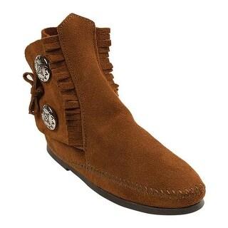 Minnetonka Women's Two Button Boot Hardsole Brown Suede