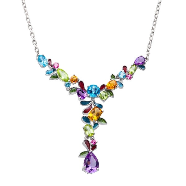 7 1/2 ct Natural Multi-Stone Garland Necklace in Sterling Silver - Multi-Color