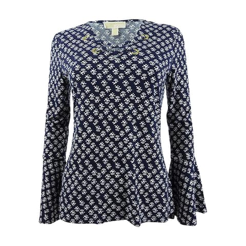 Michael Kors Women's Printed Lace-Up Top - True Navy/White