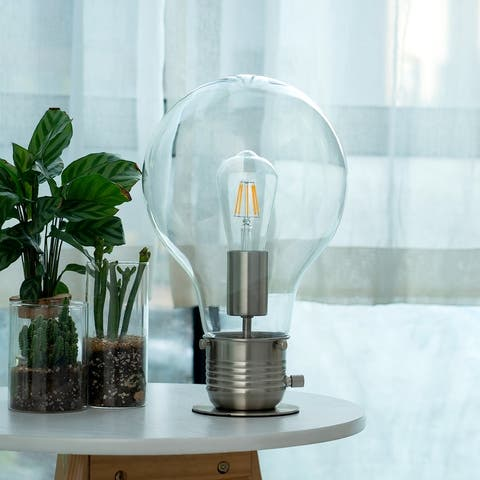 """CO-Z 13"""" Bulb-in-a-Bulb Table Lamp Desk Lamp Brushed Nickel Finish - Brushed Nickel"""