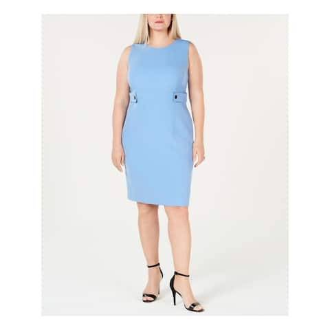 KASPER Womens Blue Above The Knee Sheath Formal Dress Size 20W