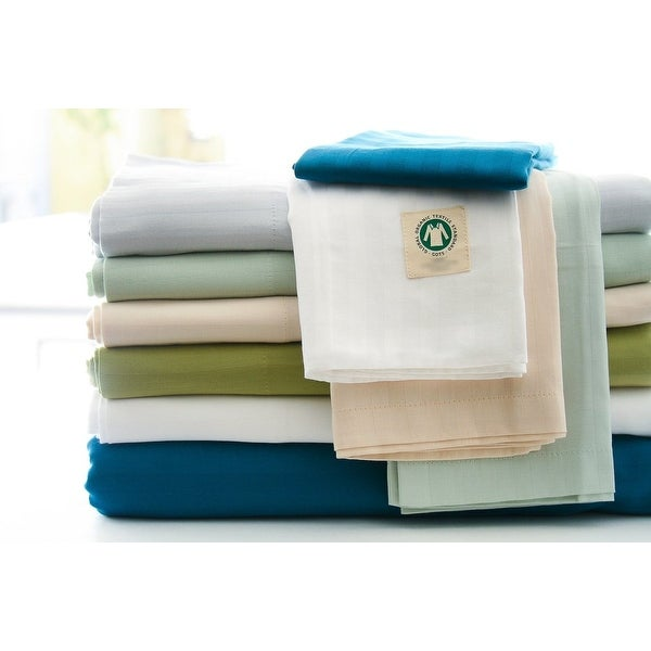 Certified Organic 300 Thread Count Cotton Stripe Sateen Sheet Set