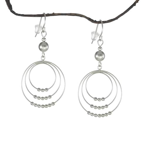 Assorted Colors Handmade Jewelry by Dawn Round Beaded Hoop .925 Sterling Silver Earrings