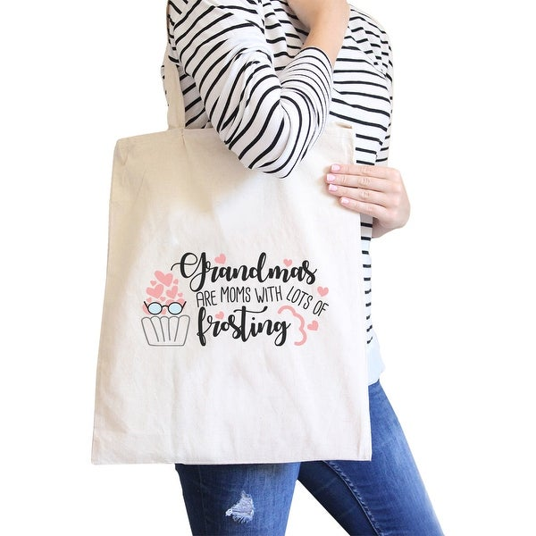Grandmas Are Moms Natural Unique Canvas Bag Cute Gifts For Grandma