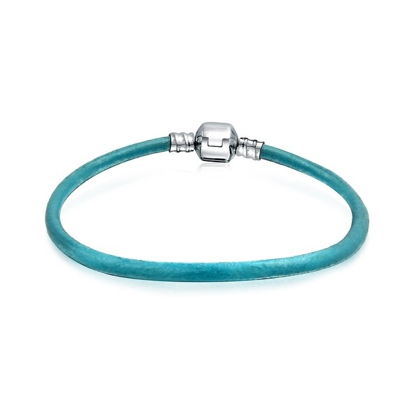 Starter Aqua Blue Leather Bracelet For Women For Teen Fits European Beads Charm 925 Sterling Silver 6.5 7 7.5 8 9 Inch