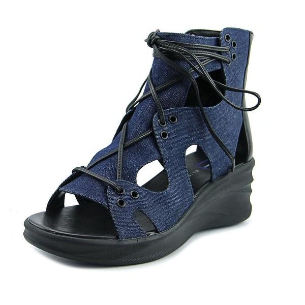 Elie Tahari Street Women Open Toe Canvas Blue Wedge Sandal