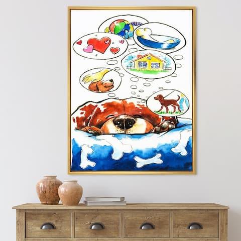 Designart 'Dog Dreams' Children's Art Framed Canvas Wall Art Print