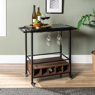 Link to Faux Marble Serving Bar Cart with Dark Walnut Base Similar Items in Kitchen Furniture