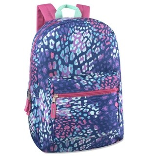"""Girls Blue Pink Spot Color Mix Zippered Pocket Backpack 15""""x10.6""""x5"""" - One size"""
