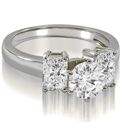 1.50 cttw. 14K White Gold Round and Emerald Cut 3-Stone Diamond Engagement Ring