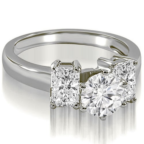 1.75 cttw. 14K White Gold Round and Emerald Cut 3-Stone Diamond Engagement Ring
