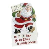 """18.25"""" Vintage-Style Glittered Santa Claus Countdown to Christmas Rotating Number Sign - WHITE"""