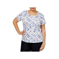 Karen Scott Womens Plus T-Shirt Printed Scoop Neck