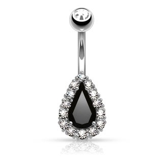 Round CZ Paved Around Prong Set Tear Drop CZ Belly Button Rings (2 options available)
