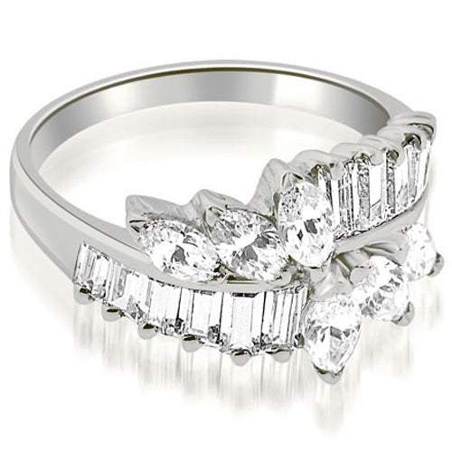 1.75 cttw. 14K White Gold Marquise and Baguette Cluster Diamond Wedding Ring