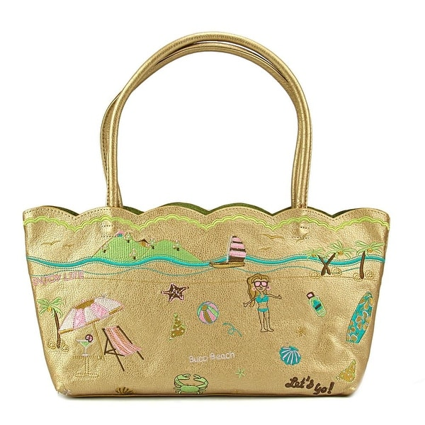 Buco Trolley Beach Bag Leather Tote - Gold