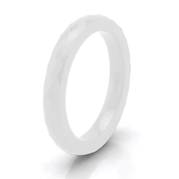 White Ceramic 3mm Multi Faceted Stackable Ring