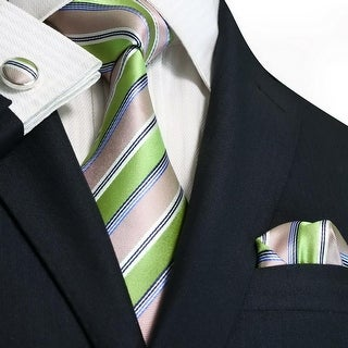 TheDapperTie Men's Green Blue & Ivory Stripes 100% Silk Neck Tie Set 58N