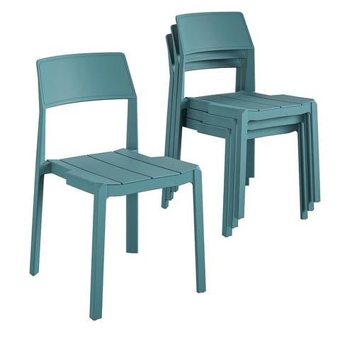 Novogratz Poolside Collection Chandler Indoor/Outdoor Stacking Dining Chairs (4-Pack)