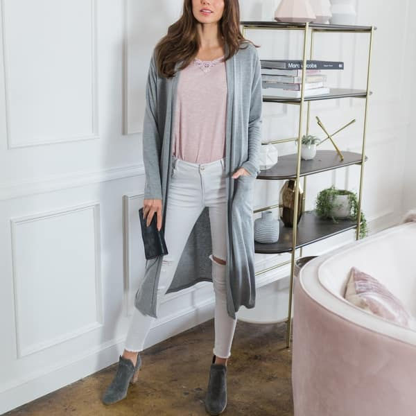 Shop Cozy Longline Cardigan With Pockets Multiple Colors Overstock 31166819