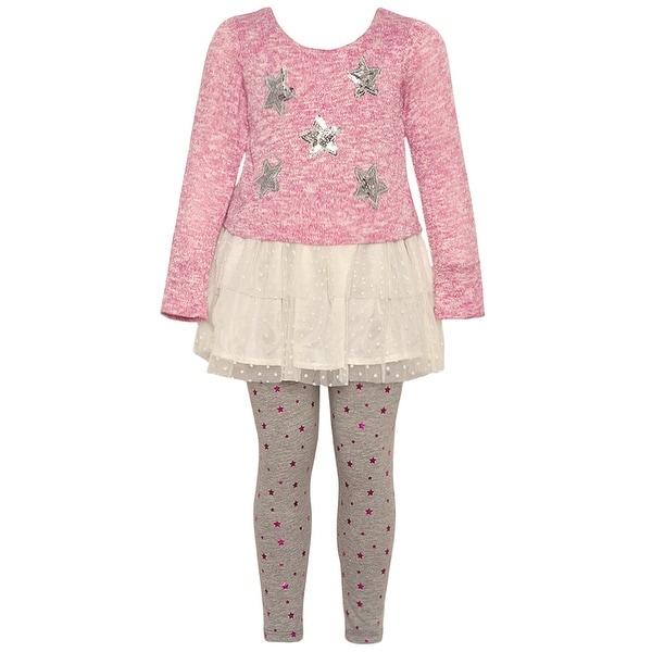 b49a72b6297e Shop Real Love Little Girls Pink Glitter Star Applique 2 Pc Legging ...