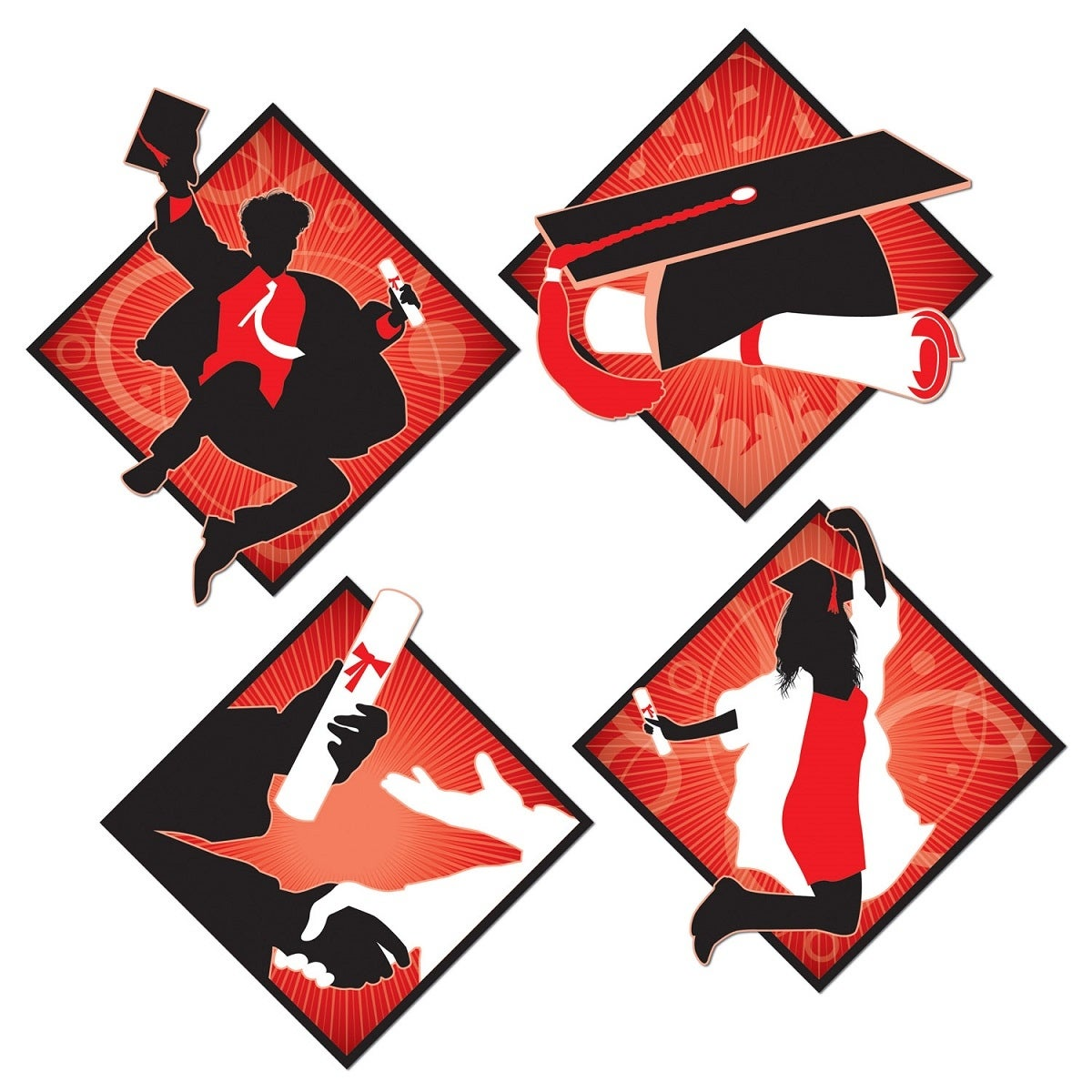 Club Pack Of 48 Red White And Black Graduation Cutout Party Decorations 16 Overstock 16645716