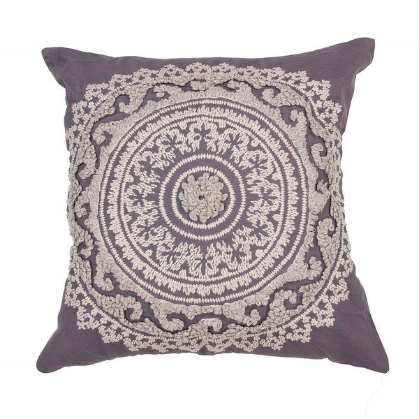 "22"" Smoke Gray and Cream Cotton Floral Pattern Indoor Decorative Throw Pillow"