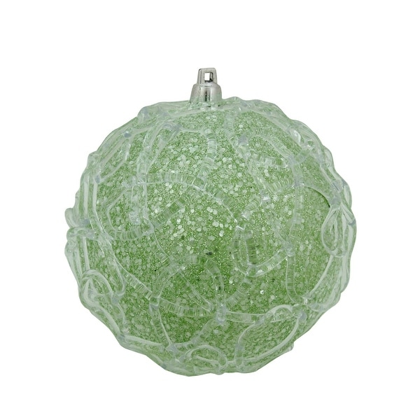 "4"" Pastel Dreams Soft Green Glittered Swirl Design Christmas Ball Ornament"