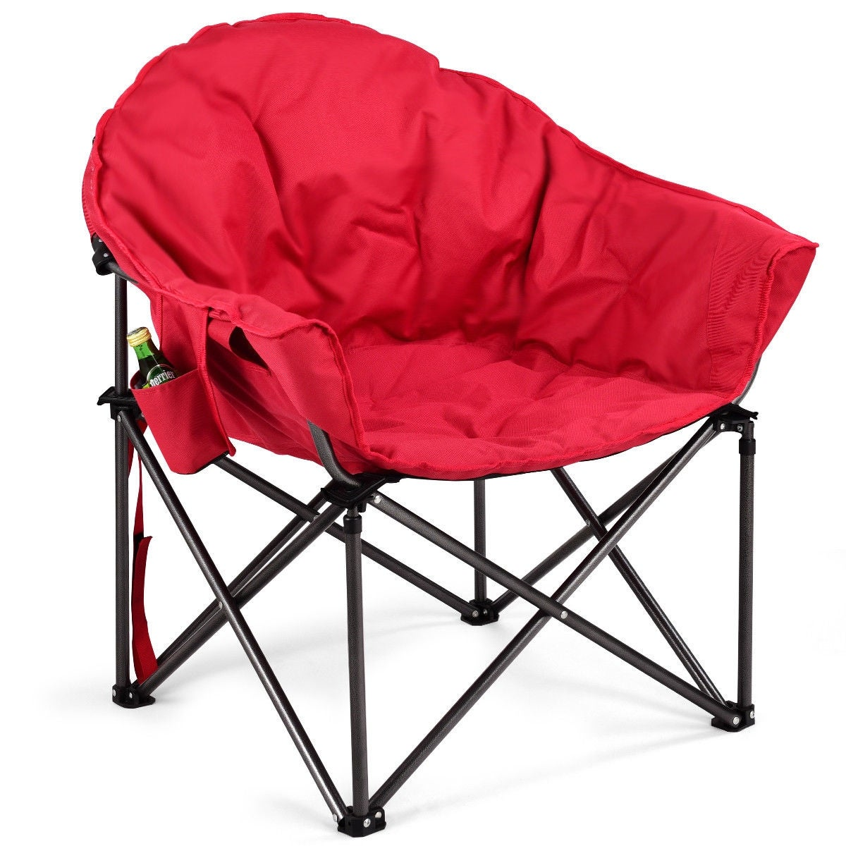 Costway Oversized Saucer Moon Folding Camping Chair Padded Seat W Cup Holder Carry Bag