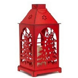 """13.5"""" Distressed Red Christmas Tree Design Candle Lantern with Flameless LED Candle"""