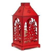 "13.5"" Distressed Red Christmas Tree Design Candle Lantern with Flameless LED Candle"