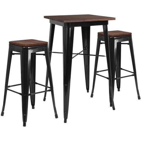 """23.5"""" Square Metal Bar Table Set with Wood Top and 2 Backless Stools"""