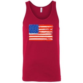 Men's Tank Top USA Flag Painted American Stars & Stripes Workout Gym Patriotic