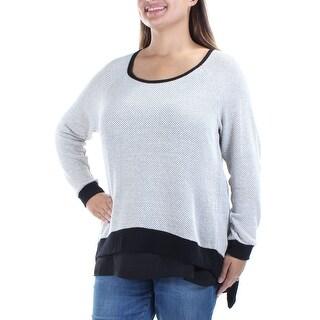 BAR III $50 Womens 2066 Gray Jewel Neck Long Sleeve Tiered Sweater Plus 2X B+B