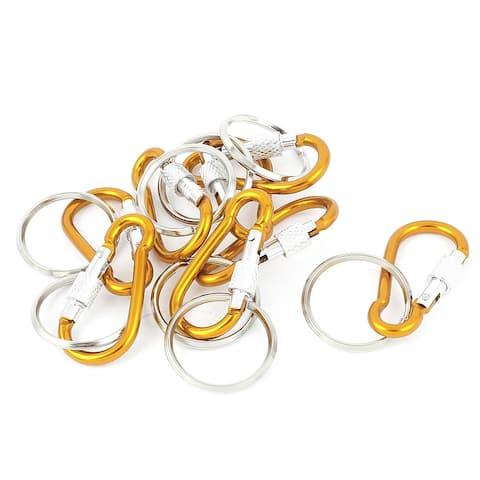 Unique Bargains Camping Screw Lock Carabiner Clip Hook Key Ring Chain Ornament 8pcs Orange