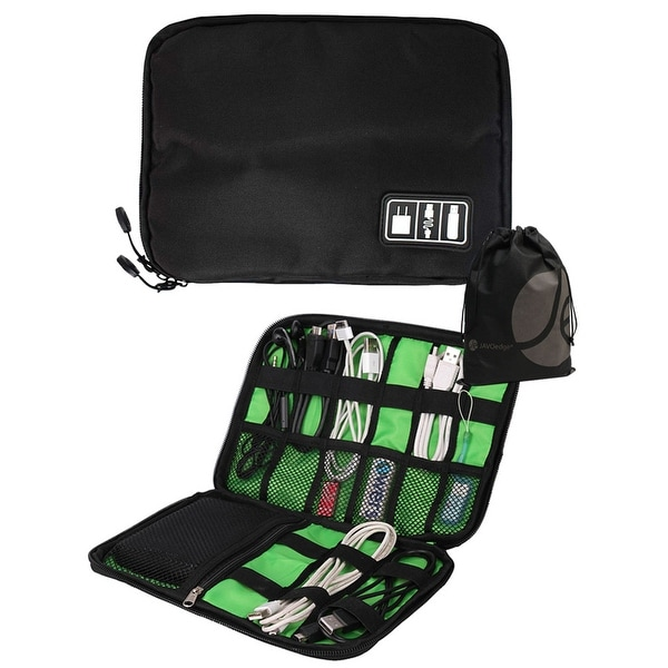 JAVOedge Black and Green Portable Cable Organizer Bag with Zipper Closing for Phone Chargers, Cables + Bonus Storage Bag