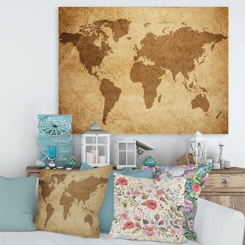 Designart 'Ancient Map of The World V' Vintage Canvas Wall Art Print