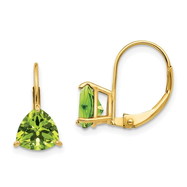 14K Yellow Gold 7mm Trillion Peridot Leverback Earrings by Versil. Opens flyout.