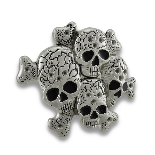 Chrome Multiple Skulls & Crossbones Belt Buckle