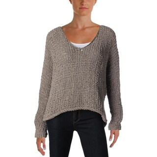 Free People Womens Pullover Sweater Deep V-Neck Open Stitch (Option: XS - grey)