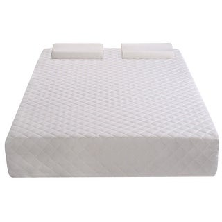 Costway King Size With 2 Contoured Pillows 10 Inch Memory Foam Mattress Pad - White