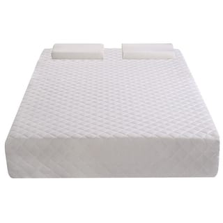 Costway King Size With 2 Contoured Pillows 10 Inch Memory Foam Mattress Pad White
