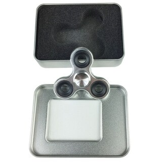 Fidget Spinner Metal Hand Spinner Stress Relief Toy With Gift Box - Silver