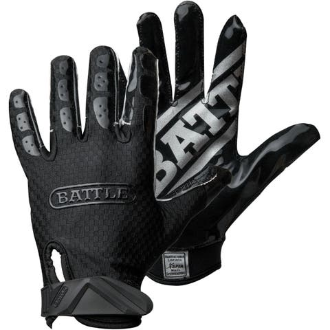 Battle Sports Science Triple Threat Youth Football Receiver Gloves - Black