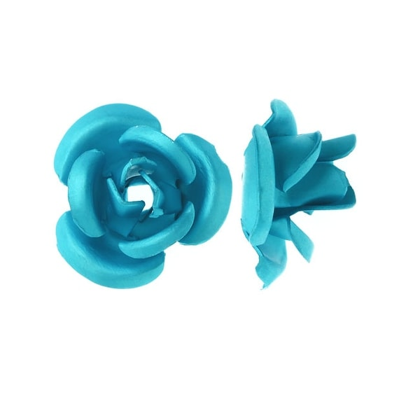 Metal Embellishments, Rose Flower Beads 8mm, 20 Pieces, Matte Aqua