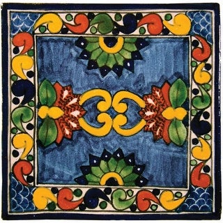 """Native Trails TVR0336 Talavera Tile 6"""" W x 6"""" H Hand Painted Asters Tile - N/A"""