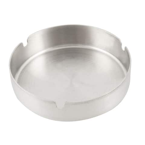 """Unique Bargains 4.7"""" Diameter Silver Tone Round Cigarette Stainless Steel Ash Tray Holder"""
