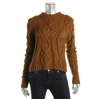 Rachel Roy Womens Pullover Sweater Cable Knit Crop