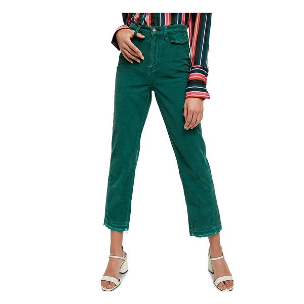 FREE PEOPLE Womens Green Corduroy Pocketed Zippered Jeans Size 26W. Opens flyout.
